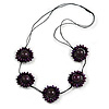 Deep Purple Wood Bead Floral Necklace with Black Cotton Cords - 70cm Long