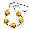 Yellow Wood Bead Floral Necklace with Black Cotton Cords - 70cm Long