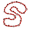 Long Red Wood, Glass, Bone Beaded Necklace - 112cm L