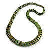 Chunky Graduated Green/ Black Wood Button Bead Necklace - 60cm Long