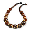Chunky Colour Fusion Wood Bead Necklace (Brown) - 48cm L