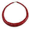 Chunky Red Wood Button Bead Necklace - 57cm Long