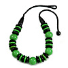 Chunky Grass Green/ Black Round and Button Wood Bead Cotton Cord Necklace - 66cm Long