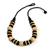 Chunky Natural/ Black Round and Button Wood Bead Cotton Cord Necklace - 66cm Long