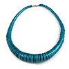 Chunky Glitter Teal Wood Button Bead Necklace - 57cm Long