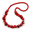 Red Round and Button Wood Bead Long Necklace - 80cm L