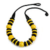 Chunky Yellow/ Black Round and Button Wood Bead Cotton Cord Necklace - 66cm Long