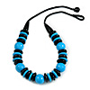 Chunky Light Blue/ Black Round and Button Wood Bead Cotton Cord Necklace - 66cm Long