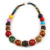 Chunky Colour Fusion Wood Bead Necklace (Multicoloured) - 48cm L