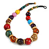 Chunky Colour Fusion Wood Bead Necklace (Multicoloured) - 48cm L