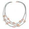 3 Strand Layered Mouse Grey Leather Cord with Matt Rose Gold Hammered Coin Magnetic Necklace - 50cm L