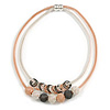 Rose/ Black/ Silver Tone Mesh Double Strand Bead and Ring Magnetic Necklace - 46cm Long