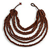 Multistrand Layered Bib Style Wood Bead Necklace In Brown - 40cm Shortest/ 70cm Longest Strand