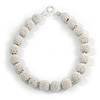 Chunky Snow White Glass Bead Ball Necklace - 54cm Long