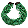 Statement Multistrand Apple Green Glass Bead Necklace with Wood Closure - 60cm Long