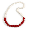 Long Graduated Cherry Red/ White Resin Bead Necklace - 78cm L
