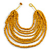 Multistrand Layered Bib Style Wood Bead Necklace In Yellow - 40cm Shortest/ 70cm Longest Strand