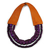 Handmade Multistrand Wood Bead and Leather Bib Style Necklace in Deep Purple - 64cm Long