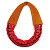 Handmade Multistrand Wood Bead and Leather Bib Style Necklace in Red - 64cm Long