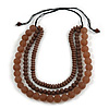 Chunky 3 Strand Layered Resin Bead Cord Necklace In Brown/ Taupe - 60cm up to 70cm Adjustable