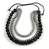 Chunky 3 Strand Layered Resin Bead Cord Necklace In Black/ Grey - 60cm up to 70cm Adjustable