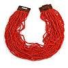Statement Multistrand Brick Red Glass Bead Necklace with Wood Closure - 60cm Long