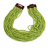 Statement Multistrand Lime Green Glass Bead Necklace with Wood Closure - 56cm Long