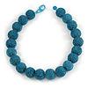 Chunky Sky Blue Glass Bead Ball Necklace - 54cm Long