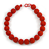Chunky Fire Red Glass Bead Ball Necklace - 54cm Long
