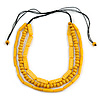 3 Strand Layered Wood Bead Black Cord Necklace In Banana Yellow - 44cm up to 56cm Adjustable