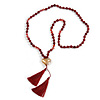Long Burgundy Red Agate Semiprecious Bead with Glass Heart Pendant/ Silk Tassel Necklace - 80cm L/ 11cm Tassel