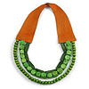 Handmade Multistrand Wood Bead and Leather Bib Style Necklace in Green - 64cm Long
