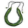 3 Strand Layered Wood Bead Cord Necklace In Green - 44cm up to 56cm Adjustable