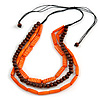 3 Strand Layered Wood Bead Cord Necklace In Orange/ Brown - 44cm up to 56cm Adjustable