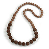 Long Graduated Brown Resin Bead Necklace - 78cm L