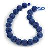 Chunky Peacock Blue Glass Bead Ball Necklace - 54cm Long