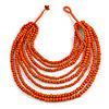 Multistrand Layered Bib Style Wood Bead Necklace In Orange - 40cm Shortest/ 70cm Longest Strand
