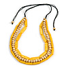 3 Strand Layered Wood Bead Cord Necklace In Banana Yellow/ Natural - 44cm up to 56cm Adjustable