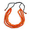 3 Strand Layered Wood Bead Cord Necklace In Orange - 44cm up to 56cm Adjustable