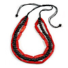 3 Strand Layered Wood Bead Cord Necklace In Red/ Black - 44cm up to 56cm Adjustable