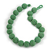 Chunky Apple Green Glass Bead Ball Necklace - 54cm Long