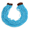 Statement Multistrand Light Blue Glass Bead Necklace with Wood Closure - 60cm Long