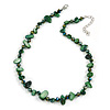 Delicate Forest Green Sea Shell Nuggets and Glass Bead Necklace - 48cm L/ 6cm Ext