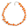 Delicate Orange Sea Shell Nuggets and Transparent Glass Bead Necklace - 48cm L/ 6cm Ext