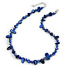 Delicate Dark Blue Sea Shell Nuggets and Glass Bead Necklace - 48cm L/ 6cm Ext