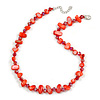 Delicate Red Sea Shell Nuggets and Glass Bead Necklace - 48cm L/ 6cm Ext