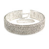 Statement 6 Row Clear Crystal Wide Choker Necklace In Rhodium Plated Metal - 30cm L/ 18cm Ext