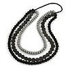 3 Strand Black/ Grey Resin Bead Black Cord Necklace - 80cm L - Chunky