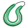3 Strand Green Resin Bead Black Cord Necklace - 80cm L - Chunky