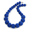 Chunky Royal Blue Glass Bead Ball Necklace with Silver Tone Clasp - 60cm L
